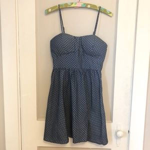 Blue Polka Dot Retro Pinup Dress